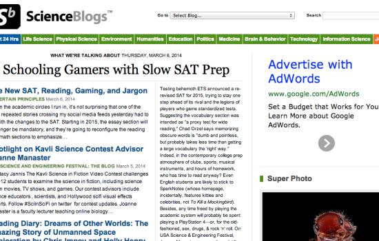 ScienceBlogs Screenshot